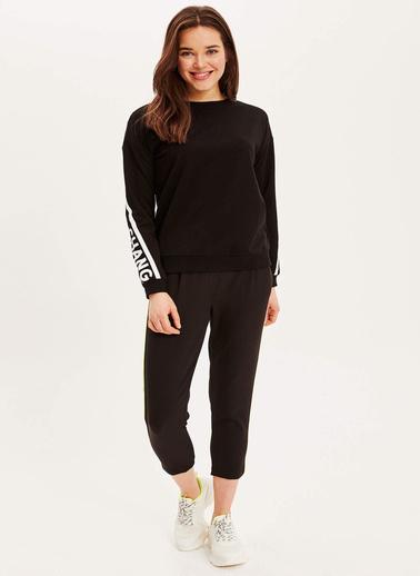DeFacto Şerit Detaylı Relax Fit Sweatshirt Siyah